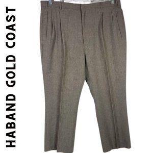 HABAND Gold Coast Tan Tweed Pleated Trousers 44M